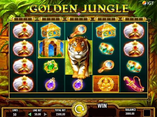 Golden Jungle Review Slots An Indian jungle themed main game board featuring five reels and 50 paylines with a $250,000 max payout