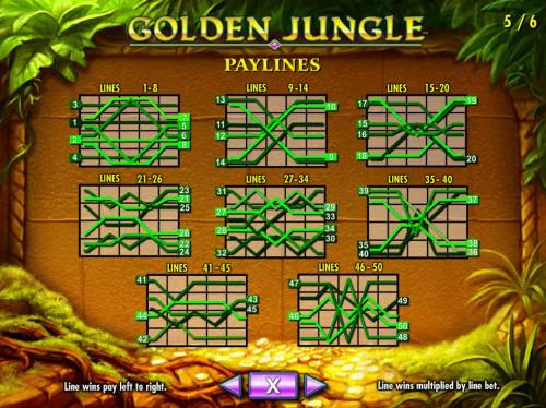 Golden Jungle Review Slots Payline Diagrams 1-50