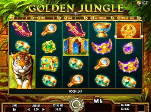 Golden Jungle Review Slots Collect 4 golden statutes for each reel and reel is turned into stacked wild.