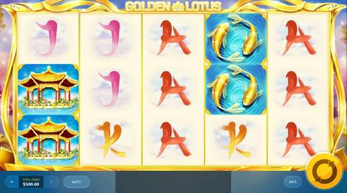 Golden Lotus Review Slots Main game board featuring five reels and 20 paylines with a $20,000 max payout.