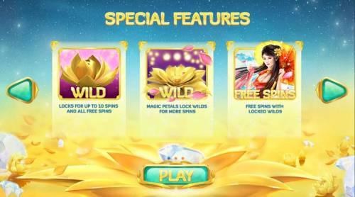 Golden Lotus Review Slots Special Features - Wild locks for up to 10 spins and all free spins. magic petals lock wilds for more spins.  Free Spins with locked wilds.