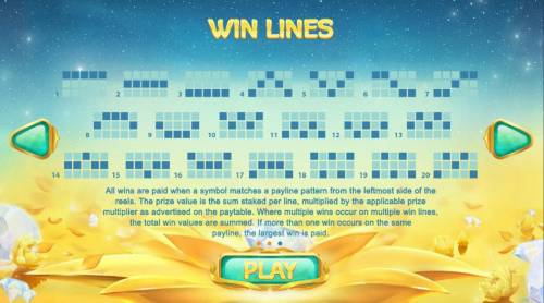 Golden Lotus Review Slots Payline Diagrams 1-20. All wins are paid when a symbol matches a payline pattern from the leftmost side of the reels.