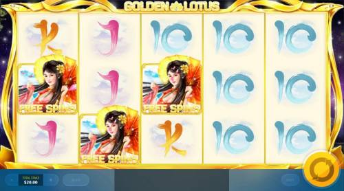 Golden Lotus Review Slots Free Spins feature activated.