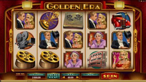 Golden Era Review Slots Main game board featuring five reels and 243 paylines with a $106,000 max payout