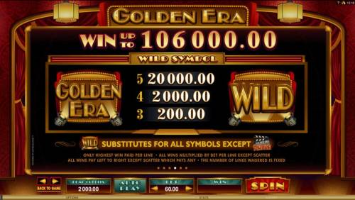 Golden Era Review Slots Wild Symbol Paytable - Win up to 106,000