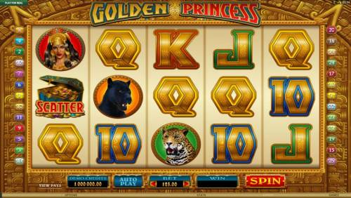 Golden Princess Review Slots Main game board featuring five reels and 25 paylines with a $25,000 max payout