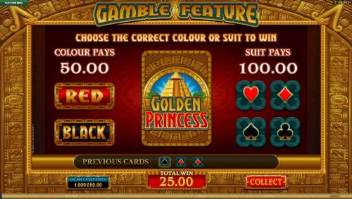 Golden Princess Review Slots Gamble feature game board. Gamble feature is available after every winning spin.