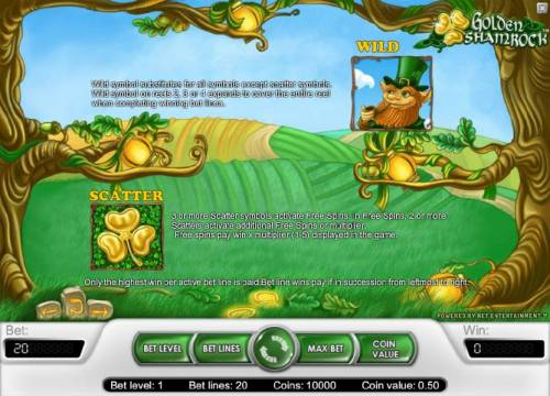 Golden Shamrock Review Slots wild and scatter symbol game rules