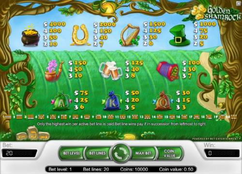 Golden Shamrock Review Slots slot game symbols paytable and payline diagrams