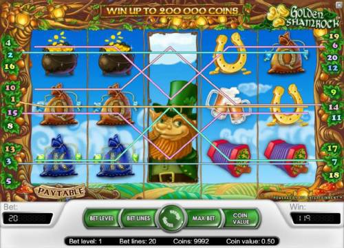 Golden Shamrock Review Slots 119 coin jackpot triggered by multiple winning paylines