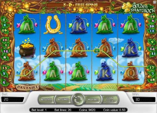 Golden Shamrock Review Slots five of a kind triggers a 30 coin payout