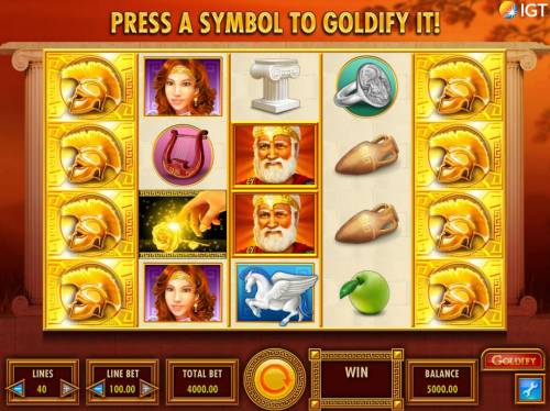 Goldify Review Slots A Greek mythological themed main game board featuring five reels and 40 paylines with a $250,000 max payout