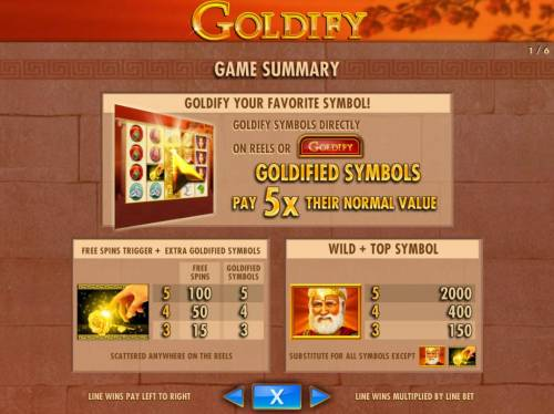 Goldify Review Slots Goldify your favorite symbol! Goldified symbols pay 5x their normal value.