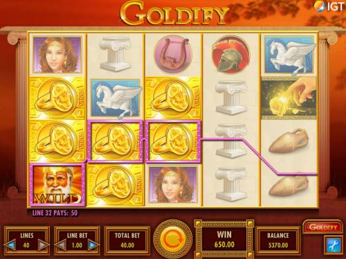 Goldify Review Slots Multiple winning paylines triggers a 650.00 big win!