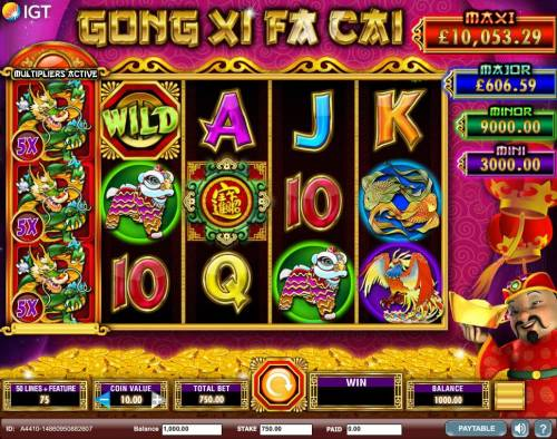 Gong Xi Fa Cai Review Slots A Chinese New Year themed main game board featuring five reels and 50 paylines with a $250,000 max payout