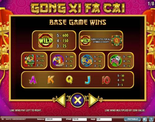 Gong Xi Fa Cai Review Slots Slot game symbols paytable - Base Game