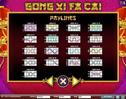 Gong Xi Fa Cai Review Slots Payline Diagrams 1-50