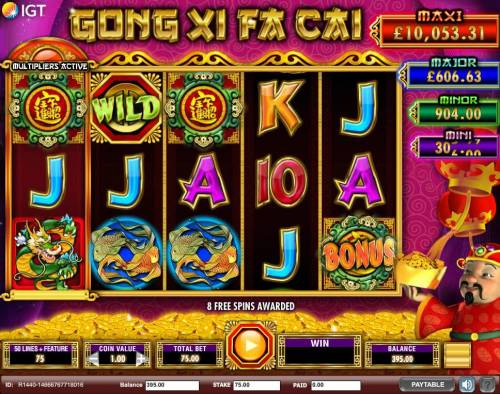 Gong Xi Fa Cai Review Slots Three Zhao cai jin bao bonus scatter symbols triggers the free spins feature.