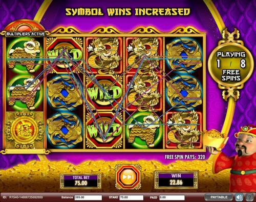 Gong Xi Fa Cai Review Slots Multiple winning paylines triggered during the Free Games feature awarding a 320.00 payout.