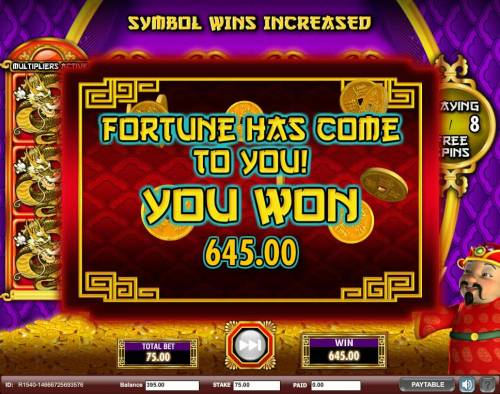 Gong Xi Fa Cai Review Slots A 645.00 big win is paid out by the free games feature.