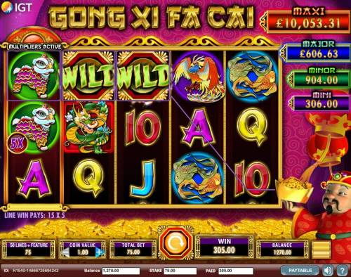 Gong Xi Fa Cai Review Slots A 305.00 big win triggered by a couple of winning paylines and a 5x wild multiplier.