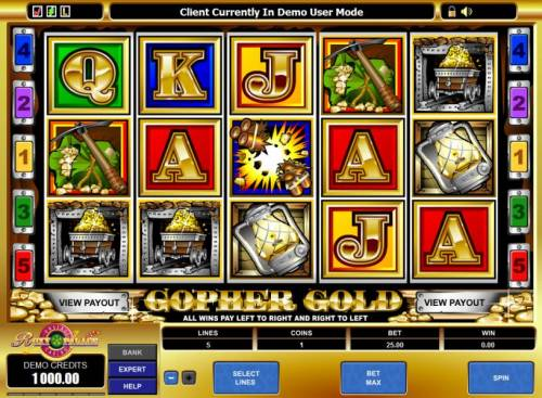 Gopher Gold Review Slots main game board featuring 5 reels and 5 paylines