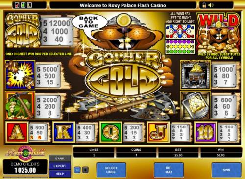 Gopher Gold Review Slots paytable