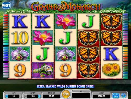 Grand Monarch Review Slots main game board featuring five reels and fifty paylines