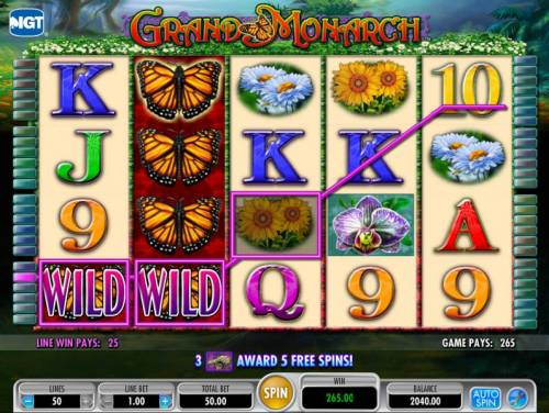 Grand Monarch Review Slots here is an example of a mutiline winning paylines triggering a 265 coin payout