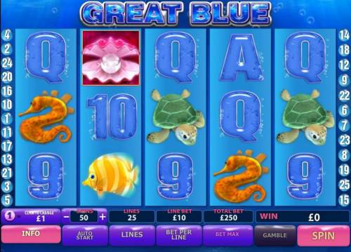 Great Blue Review Slots main game board featuring 5 reels and 25 paylines