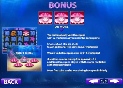 Great Blue Review Slots three or more pearl symbols win 8 free games with an x2 multiplier