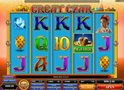 Great Czar Review Slots Main game board featuring five reels and 30 paylines with a $125 max payout