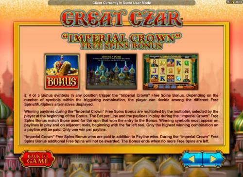 Great Czar Review Slots Imperial Crown Free Spins Bonus Feature game rules