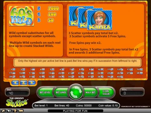 Groovy Sixties Review Slots wild and scatter symbols payout table