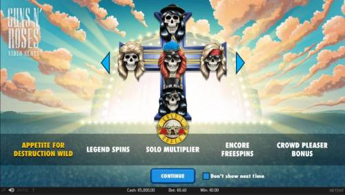 Guns N' Roses Review Slots features include: Appetite for Destruction Wild, Legend Spins, Solo Multiplier, Encore Freespins and Crowd Pleaser Bonus.