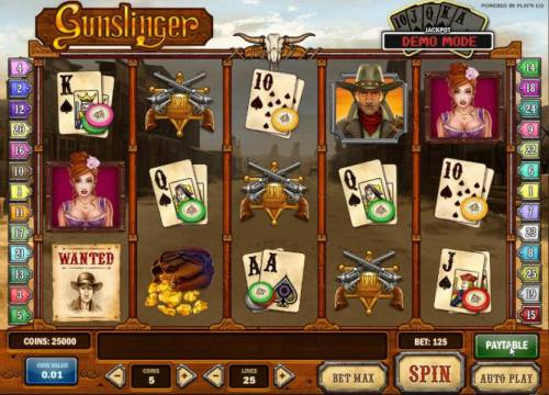 Gunslinger Review Slots main game board featuring five reels, 25 paylines and a progressive jackpot