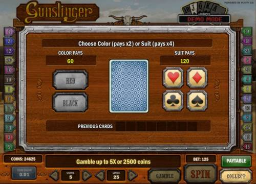 Gunslinger Review Slots gamble feature game board - choose color or suit for a chance to increase your winnings