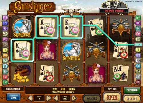 Gunslinger Review Slots a pair of scatter symbols and a three of a kind triggers a 290 coin jackpot