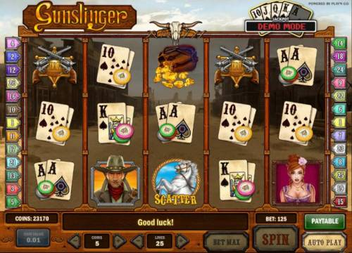 Gunslinger Review Slots turn your cards bonus feature triggered