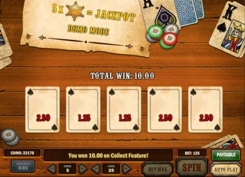Gunslinger Review Slots bonus feature pays 10 coins