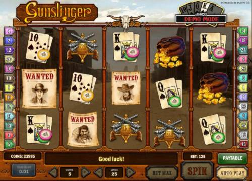 Gunslinger Review Slots three wanted symbols triggers bounty hunt bonus feature