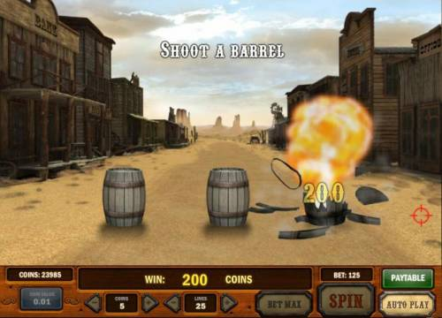 Gunslinger Review Slots bounty hunt bonus feature game board - shoot a barrel to earn prize awards