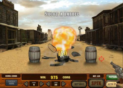 Gunslinger Review Slots another 150 coins added to the bonus feature win