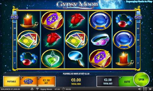 Gypsy Moon Review Slots A mystical themed main game board featuring five reels and 243 winning ways with a $500 max payout