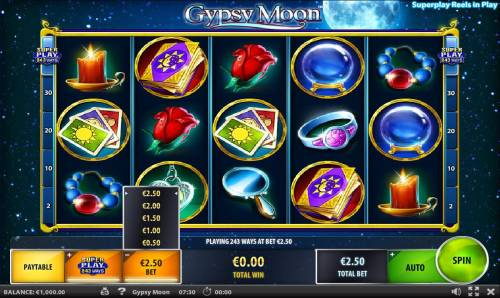 Gypsy Moon Review Slots Click the Stake button to adjust the bet range.