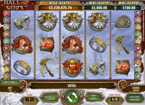 Hall of Gods Review Slots main game board featuring five reels, twenty paylines and three progressive jackpots