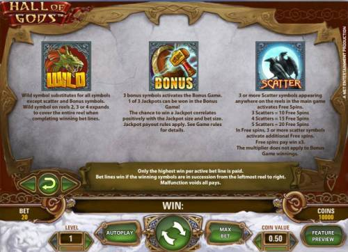 Hall of Gods Review Slots how to play wild, bonus and scatter