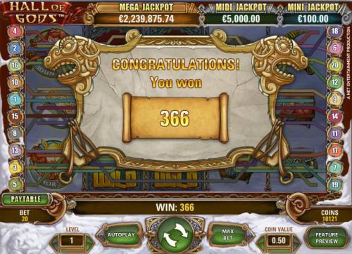 Hall of Gods Review Slots multiple winning paylines triggers a 366 coin jackpot