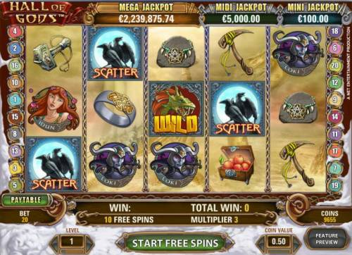 Hall of Gods Review Slots free spins game board