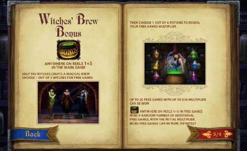Halloween Fortune Review Slots witches' brew bonus anywhere on reels 1 and 5 in the main game